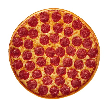 pizza pie: Whole Pepperoni Pizza isolated on white background