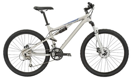 mountain bicycle: Sport silver bicycle on white.