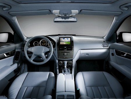 car dashboard: View of the interior of a modern business car showing the dashboard Stock Photo