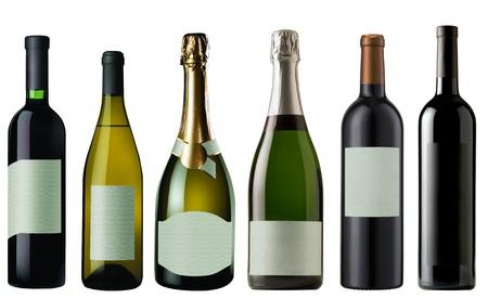 botella champagne: Conjunto de blanco y rojo de botellas de vino y Champa�a aislados sobre fondo blanco  Foto de archivo