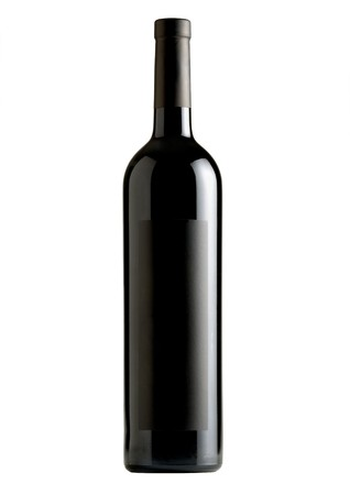white wine bottle: A bottle of red wine, isolated on white. There is free space on label for logo or text. The label is black.
