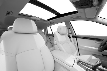 Seats and panarama window in modern white sport car, back view Stock Photo