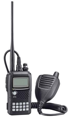 Black walkie talkie on white background. Police portable radio set. photo