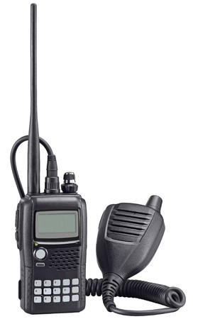 walkie: Black walkie talkie on white background. Police portable radio set. Stock Photo