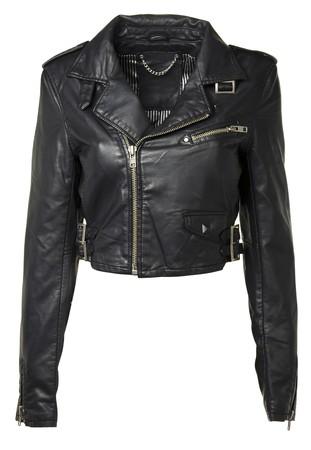 chaqueta de cuero: Chaqueta de cuero negro de lujo, aislado en fondo blanco
