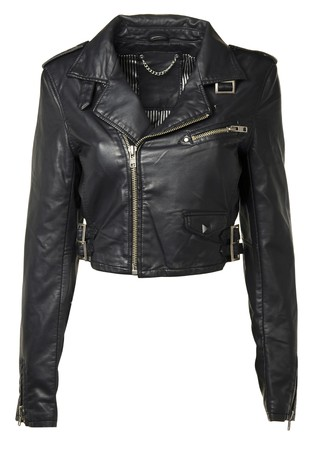 Luxury Black Leather jacket, isolated on white background  photo