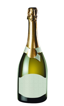 Champagne bottle isolated on white background . There is free space on label for logo or text. photo