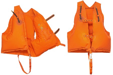 Professional Orange Life Jacket - isolated on white   photo
