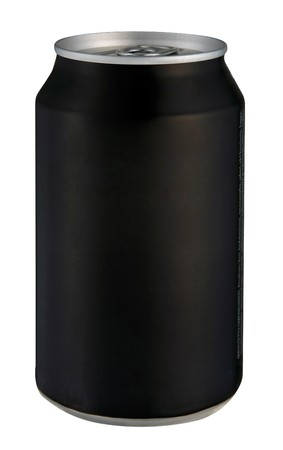 carbonated drink: Black drink can isolated over white background