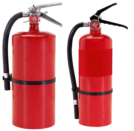 foam safe: Fire extinguishers isolated on white background Stock Photo