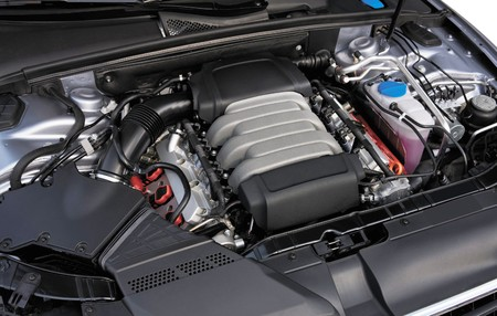 Detailed Car Engine at steel-gray color photo