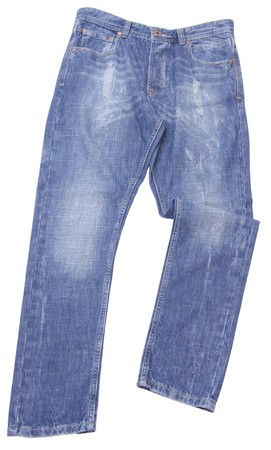 trouser: Blue jeans trouser isolated on white background