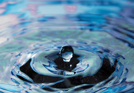 Dark blue water and water bubbles in blue photo