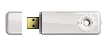 usb: Usb flash memory with mp3 isolated on white background.