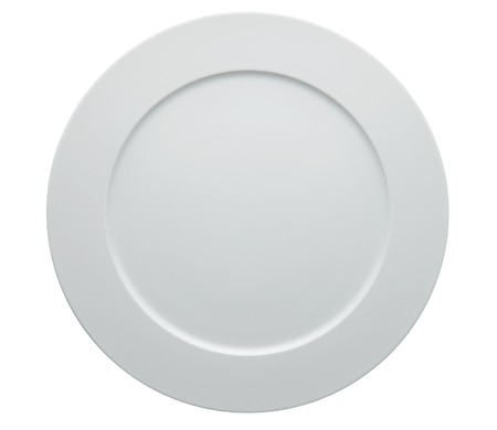 white plate: blank white dinner plate isolated on white. Stock Photo
