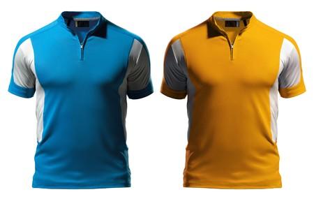 polo: Lege polo t-shirt ontwerpsjabloon (voorzijde) met rits geïsoleerd op witte achtergrond