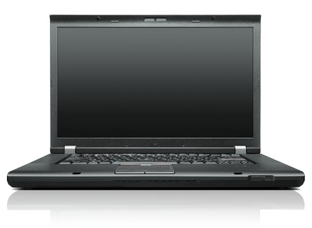 Laptop isolated on white black display - front view photo