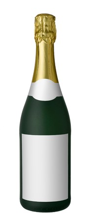 gold capped: Champagne bottle isolated on white background. There is free space on label for logo or text.
