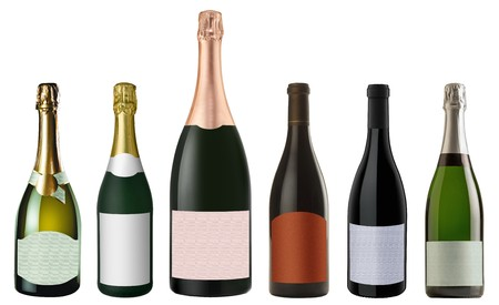 corked: Set of bottles red and white Champagne isolated on white background