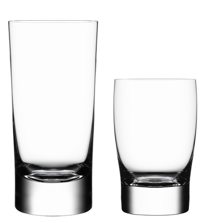 tumbler: Empty glass isolated on a white background