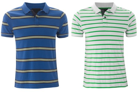 ringer: Front of the clean striped T-Shirts (Polo). isolated