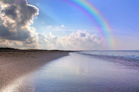 Nice seascape with rainbow photo