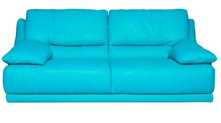 blue leather sofa: Immagine di un divano moderno in pelle blu su sfondo bianco  Archivio Fotografico
