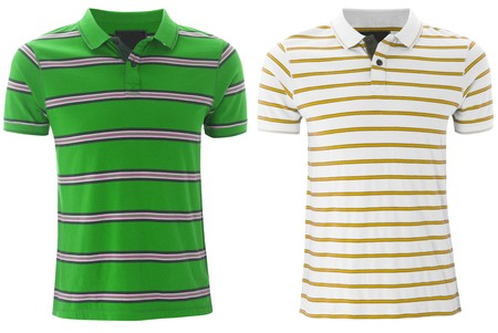 Front of the clean striped T-Shirts (Polo). isolated