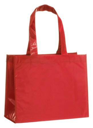 reusable: Isolato su sfondo bianco, rosso e riutilizzabili shopping bag Archivio Fotografico