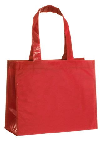 reusable: Red, reusable shopping bag isolated on white background