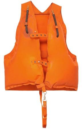 Professionelle orange Schwimmweste - isoliert auf weiß Standard-Bild