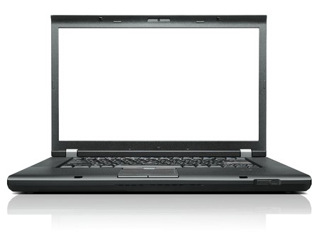 Laptop isolated on white with blank display - front view Stock Photo - 7981732