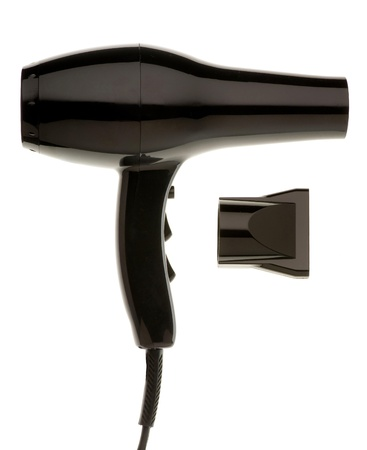 blow drier: Black Hair Dryer isolated on white background