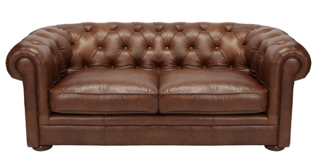 Image of a modern brown leather sofa over white background photo