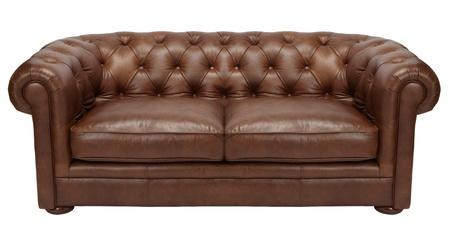 brown leather sofa: Immagine di un divano in pelle marrone moderna su sfondo bianco