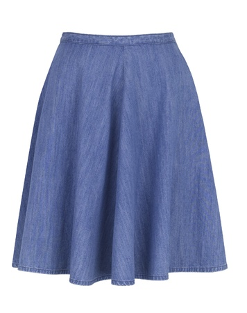 skirts: Falda jeans sobre fondo blanco