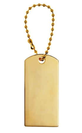 luggage pieces: Gold Tag or Charm or Label isolated on white background  Stock Photo