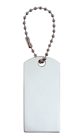 luggage pieces: Silver Tag or Charm or Label isolated on white background