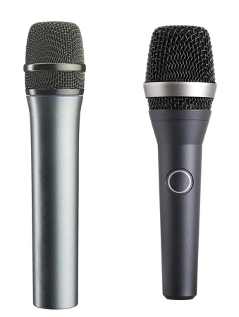 The big black microphones isolated on white background photo