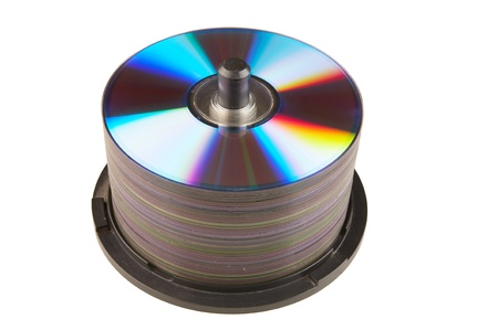 rewritable: A pile of rewritable dvds on a white background.