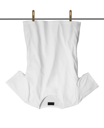 clothesline: T-shirt with drying on clothesline  Stock Photo