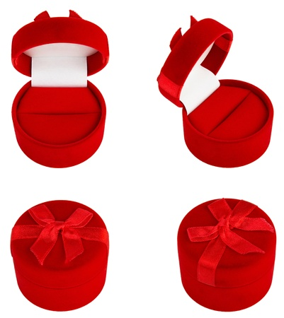 Set of Red gifts velvets boxes for jewelry photo