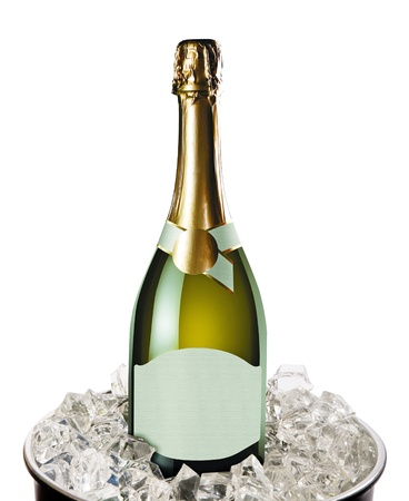 Champagne bottle in a bucket with ice on the white photo