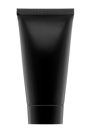 cosmetic cream: Black Cream container  Stock Photo