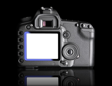Blank camera screen with cllipping paths. Professional Digital Camera. It is isolated on black background with reflection photo