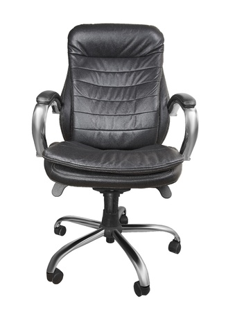 Black office armchair isolated on white background.