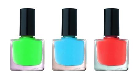 Nail polish bottles isolated on a white background photo