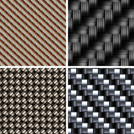 Set of various types of Carbon fiber textures. 3d vector Stock Photo - 8821536