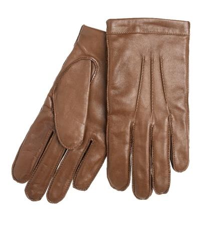 guantes: Guantes de cuero marr�n, aislados en el fondo blanco Foto de archivo
