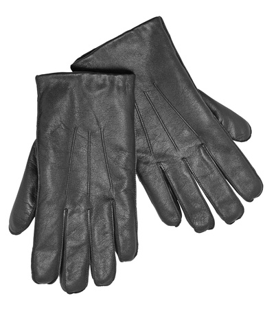 Black leather gloves isolated on the white background  photo